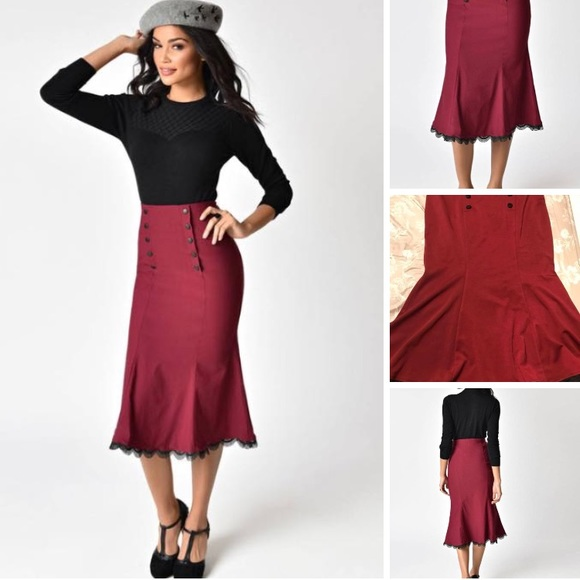 43ad141682 1940s Style Wine High Waist Button Trumpet Skirt. M_5b881da6129955025c0a75db